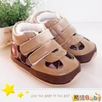 魔法Baby~【KUKI酷奇】方格紋內裡絨毛品牌寶寶鞋 學步鞋 棕 ~男童鞋~sh1146