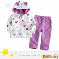 魔法Baby ~厚刷毛耳朵造型連帽外套款套裝 白外套 紫長褲 ~套裝~女童裝~k24586