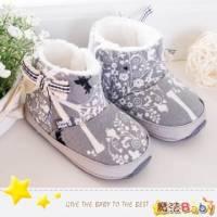 魔法Baby~【KUKI酷奇】花紋飾蝴蝶結短筒雪靴寶寶鞋 學步鞋 灰 ~男女童鞋~sh1153