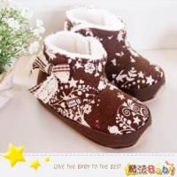 魔法Baby~【KUKI酷奇】花紋飾蝴蝶結短筒雪靴寶寶鞋 學步鞋 咖啡 ~男女童鞋~s1160