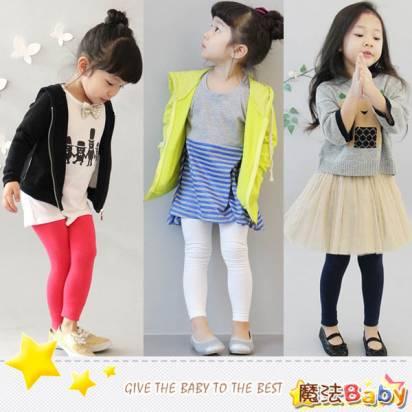 魔法Baby ~糖果色內搭長褲(紅、桔、灰、白、黑、藍)~童裝~女童裝~時尚設計童裝~k24777