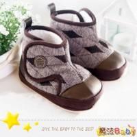 魔法Baby~KUKI酷奇格紋幾何菱雪靴寶寶鞋 學步鞋 咖啡 ~男童鞋~時尚設計童鞋~sh1214