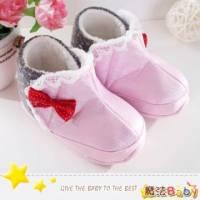 魔法Baby~【KUKI酷奇】甜美蝴蝶結飾蕾絲雪靴寶寶鞋 學步鞋 粉紅 灰 ~女童鞋~sh1238