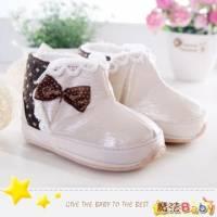 魔法Baby~【KUKI酷奇】甜美蝴蝶結飾蕾絲雪靴寶寶鞋 學步鞋 米白 咖啡 ~女童鞋~sh1245