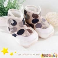 魔法Baby~【KUKI酷奇】糖果色大圓點內絨毛雪靴寶寶鞋 學步鞋 棕 ~時尚設計童鞋~sh1283