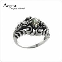 【ARGENT銀飾】美鑽系列「古典玫瑰 綠鑽 」純銀戒指 染黑款