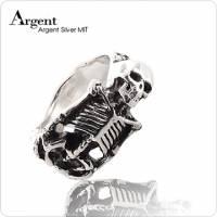 【ARGENT銀飾】骷髏系列「骷髏銀身」純銀戒指 染黑款