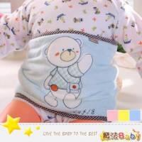魔法Baby~格紋小白熊加大型剪毛絨鋪棉厚肚圍 粉紅 米黃 水藍 ~嬰幼兒用品~k25538