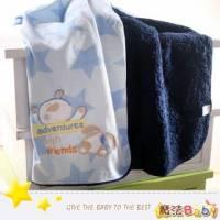 魔法Baby~細絲絨毛巾布雙質料嬰幼兒毛毯 水藍 ~嬰兒用品~時尚設計~k18080