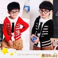 魔法Baby~假兩件式立體領帶上衣 黑條紋 紅條紋 ~DODOMO系列~時尚設計童裝~k26023