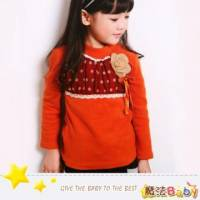 魔法Baby~拼點點針織花雪紡上衣~DODOMO系列~時尚設計童裝~k26047