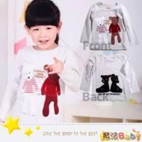 魔法Baby~穿條紋衣手足小熊上衣 淺灰 ~DODOMO系列~時尚設計童裝~k26061
