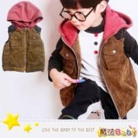 魔法Baby~厚款後繡英文拼布肩連帽背心~DODOMO系列~時尚設計童裝~k26153
