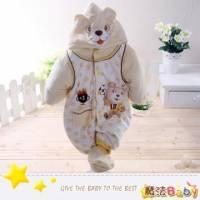 魔法Baby~加厚鋪棉寶寶足球熊連身衣 包屁衣~男女童裝~時尚設計童裝~k24715