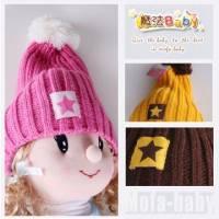 魔法Baby~韓版潮流款針織毛線帽 玫紅 咖啡 黃 ~保暖用品~時尚設計童裝~k04802