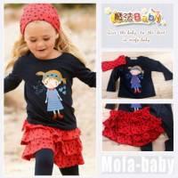 魔法Baby~小女生四件組套裝 頭巾+長T+蛋糕裙+內搭褲 ~套裝~女童裝~時尚設計童裝~k2630