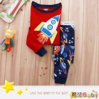 魔法Baby~純綿長袖居家套裝 飛碟外星人 ~套裝~男童裝~時尚設計童裝~k26351