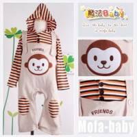 魔法Baby~日系條紋吊帶褲套裝 猴子 ~套裝~女童裝~時尚設計童裝~k04611