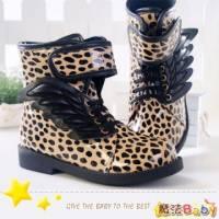 魔法Baby~【KUKI酷奇】豹紋翅膀造型飾鞋帶高筒靴 杏 ~男女童鞋~時尚設計童鞋~sh0255