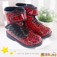 魔法Baby~【KUKI酷奇】豹紋翅膀造型飾鞋帶高筒靴 紅 ~男女童鞋~時尚設計童鞋~sh0262