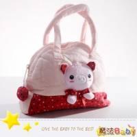 魔法Baby~日本風絨布拼接手提包 小粉紅豬 ~雜貨小品~時尚設計~f0107