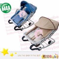 魔法Baby~台灣製造雙管加寬彈搖椅 含蚊帳 _藍.卡其兩款~嬰幼兒用品~t668a