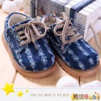 魔法Baby~【KUKI酷奇】帥氣牛仔藍水漱條紋寶寶鞋 學步鞋~時尚設計童鞋~s4525