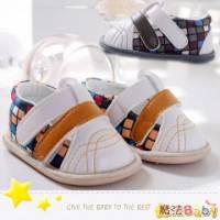 魔法Baby~【KUKI酷奇】魔術方塊格寶寶鞋 學步鞋 黃.灰共兩色款 ~時尚設計童鞋~sh1856
