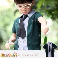 【換季↘69折】魔法Baby~學院風可拆領帶假兩件徽章襯衫 上衣 T恤~DODOMO品牌系列~男童裝~男女童裝~k26894