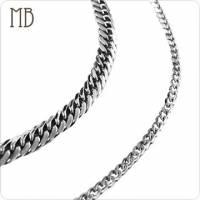 【MB流行鋼飾】單鍊系列「扁鍊 粗+細 」白鋼項鍊 鍊寬9mm+5mm 一對價