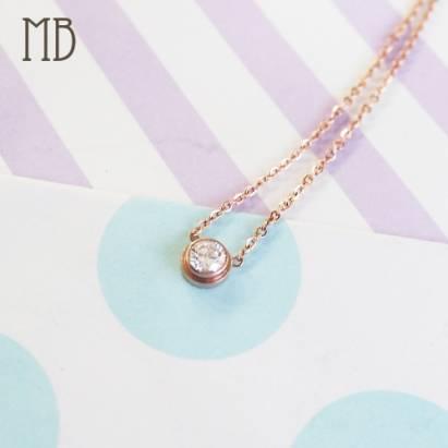 【MB流行鋼飾】美鑽系列「真愛唯一(玫瑰金)」白鋼項鍊