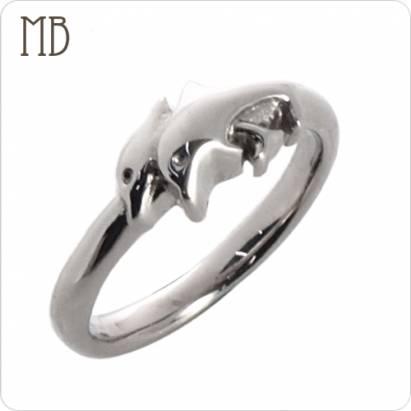 【MB流行鋼飾】尾戒系列「小海豚」白鋼戒指