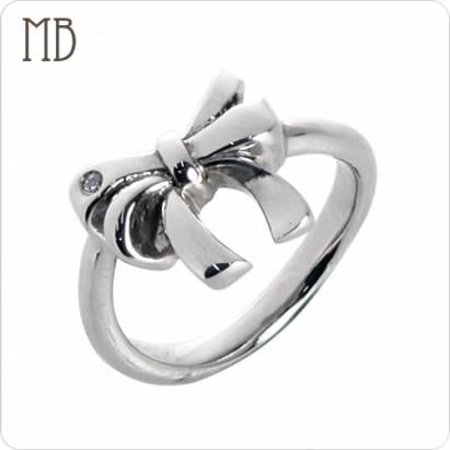 【MB流行鋼飾】尾戒系列「小蝴蝶結」白鋼戒指