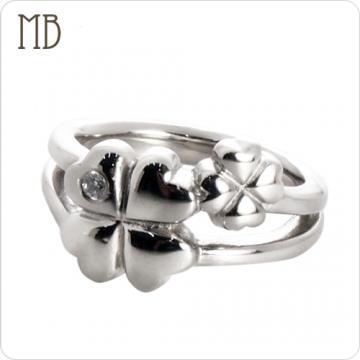 【MB流行鋼飾】尾戒系列「小幸運草」白鋼戒指