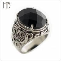 【MB流行鋼飾】黑瑪瑙系列「黑瑪瑙皇冠」白鋼戒指