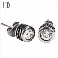 【MB流行鋼飾】潮流系列「古典晶鑽」白鋼耳環