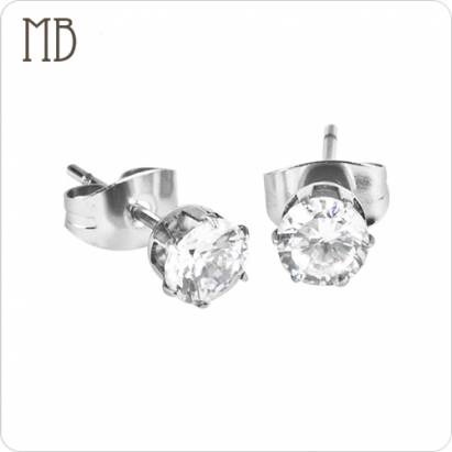【MB流行鋼飾】美鑽系列「幻彩(圓)(白色)(5M)」白鋼耳環