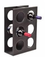 出清 ★高級黑色荔枝紋PU皮制紅酒酒架 6瓶 直立酒架 實用又為居家擺飾增添價值~