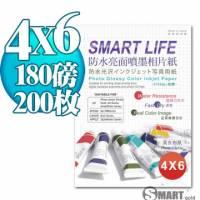 日本進口 Smart Life 防水亮面噴墨相片紙 4X6 180磅 200張