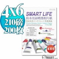 日本進口 Smart Life 防水亮面噴墨相片紙 4X6 210磅 200張