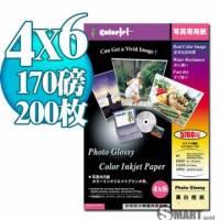 日本進口 color Jet 防水亮面噴墨相片紙 4X6 170磅 200張