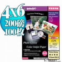 日本進口 color Jet 防水亮面噴墨相片紙 4X6 200磅 100張