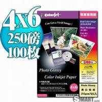 日本進口 color Jet 防水亮面噴墨相片紙 4X6 250磅 100張