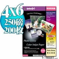 日本進口 color Jet 防水亮面噴墨相片紙 4X6 250磅 200張