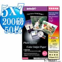 日本進口 color Jet 防水亮面噴墨相片紙 5X7 200磅 50張