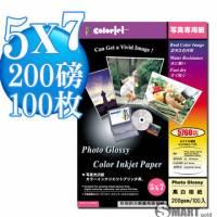 日本進口 color Jet 防水亮面噴墨相片紙 5X7 200磅 100張