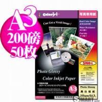 日本進口 color Jet 防水亮面噴墨相片紙 A3 200磅 50張