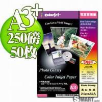 日本進口 color Jet 防水亮面噴墨相片紙 A3+ 250磅 50張