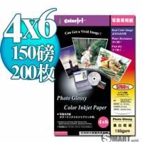 日本進口 color Jet 防水亮面噴墨相片紙 4X6 150磅 200張