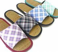 e鞋院 [光采亮麗---經典格紋] 藺草室內拖鞋